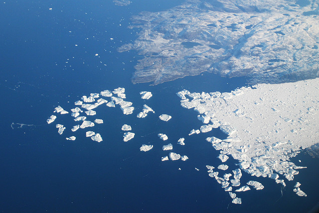 This is a glacier in Greenland breaking off into the Atlantic